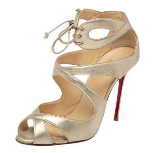 Christian Louboutin Gold Leather Lace up Crisscross Sandals Size 38