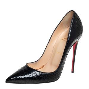 Christian Louboutin Black Python Leather So Kate Pumps Size 40
