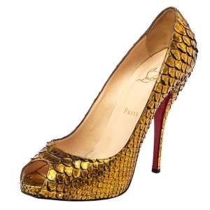 Christian Louboutin Gold Python Lady Peep Toe Platform Pumps Size 40