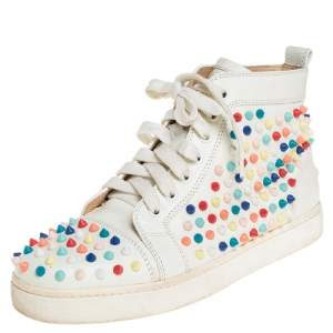 Christian Louboutin White Patent Leather Spikes Sneakers Size 39