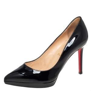 حذاء كعب عالي كريستيان لوبوتان بيغالي بلاتو جلد أسود لامع بمقدمة مدببة مقاس 38