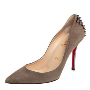 Christian Louboutin Olive Green Suede Zappa Pointed Toe Pumps Size 37