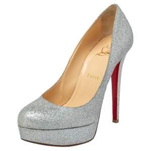 Christian Louboutin Silver Iridescent Glitter Bianca Platform Pumps Size 39.5