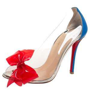 Christian Louboutin Blue/Red Leather And  PVC Peep Toe Pumps Size 36