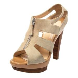 Christian Louboutin Beige Suede Cage Zipper Sandals Size 39