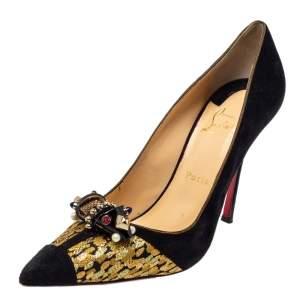 حذاء كعب عالي كريستسان لوبوتان تودور نيت مقدمة مدببة بروكاد و سويدي ذهبي و أسود مقاس 40.5
