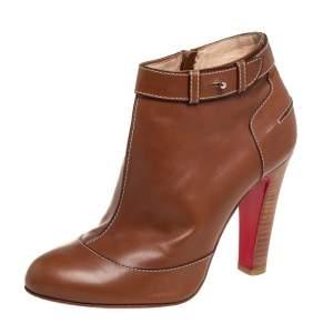 حذاء بوت كريستيان لوبوتان إت داون جلد بني مقاس 3.5