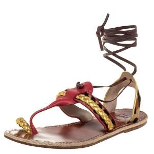 Christian Louboutin Multicolor Leather Pony Hair Ankle Wrap Espadrille Sandals Size 41