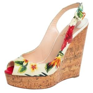 Christian Louboutin  Cream Leather Flower Cork Wedge Sandals Size 39.5