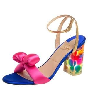 Christian Louboutin Multicolor Satin And Leather Resin Hallunodo Sandals Size 40