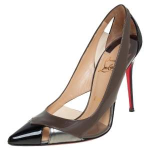 Christian Louboutin Multicolor Patent And Leather Galata Pointed Toe Cutout Pumps Size 37