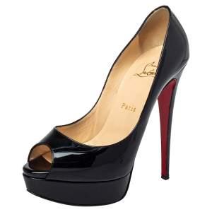 Christian Louboutin Black Patent Leather Banana Peep Toe Platform Pumps Size 38