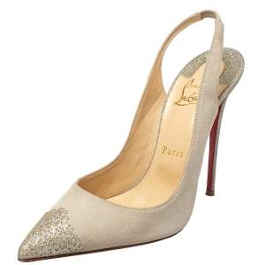 Christian Louboutin Grey Suede And Glitter Almine Slingback Sandals Size 38.5