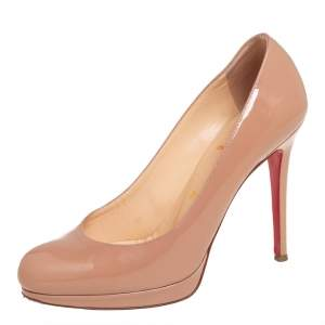 Christian Louboutin Beige Patent Leather New Simple Pumps Size 37
