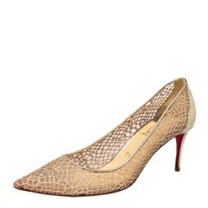 Christian Louboutin Gold Lace And Mesh Pumps Size 41