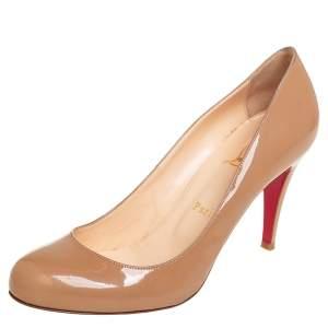 حذاء كعب عالي كريستيان لوبوتان فيفيل جلد لامع بيج مقاس 38.5