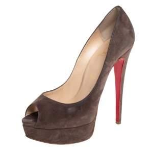 Christian Louboutin Brown Suede Lady Peep Toe Platform Pumps Size 37.5