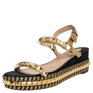 Christian Louboutin Gold/Black Suede and Leather Pyraclou Studded Platform Sandals Size 37