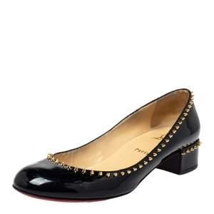 Christian Louboutin Black Patent Leather Anjalina Spike Pumps Size 40