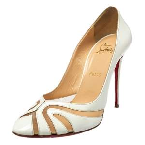Christian Louboutin Cream  Leather  And Net Pumps Size 40.5