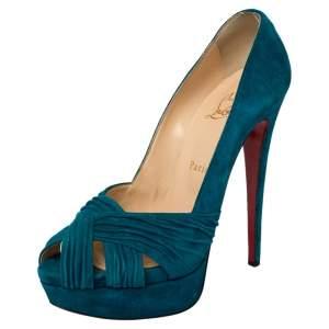 حذاء كعب عالي كريستيان لوبوتان أبورينا سويدي أزرق بنعل سميك ومقدمة مفتوحة مقاس 39.5