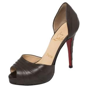 Christian Louboutin Brown Leather Armadillo D'orsay Pumps Size 36