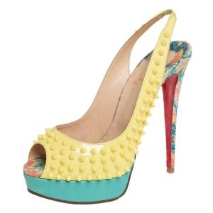 Christian Louboutin minor Python Embossed Leather And Patent Lady Peep Spike Slingback Sandals Size 40