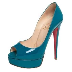 حذاء كعب عالي كريستيان لوبوتان ليدي جلد أزرق لامع بنعل سميك ومقدمة مفتوحة مقاس 35