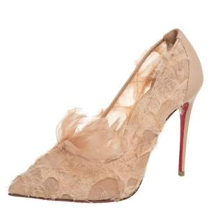 Christian Louboutin Beige Fabric And Leather TouFrou Pumps Size 37