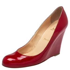 Christian Louboutin Red Patent Wedge Pumps Size 39