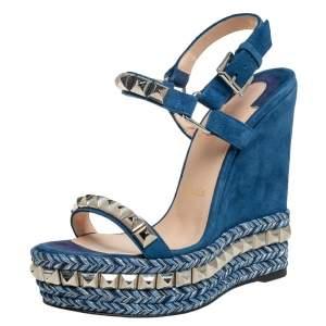 Christian Louboutin Blue Suede Cataclou Sandals Size 35