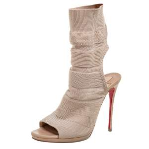 Christian Louboutin Beige Knit Fabric Sock Cheminene Maille Booties Size 37