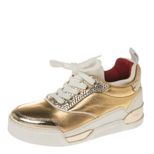 Christian Louboutin Gold Leather Aurelian Donna Sneakers Size 36