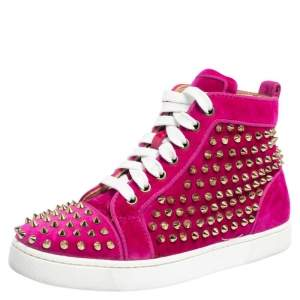 Christian Louboutin Pink Velvet Spike Embellished Louis Orlato Mid Top Sneakers Size 36