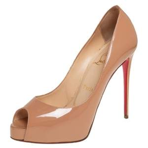 Christian Louboutin Beige Patent Leather New Very Prive Peep Toe Pumps Size 37.5
