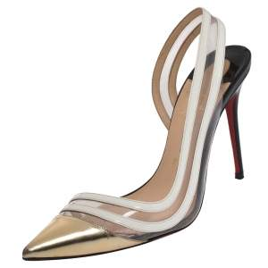 Christian Louboutin Tricolor Leather, Patent And PVC Paralili D'orsay Pumps Size 38