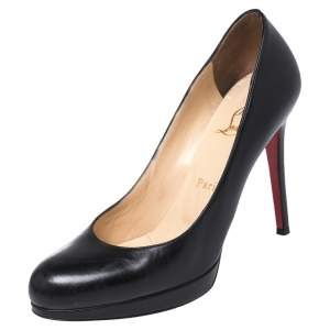 Christian Louboutin Black Leather New Simple Round Toe Pumps Size 37.5