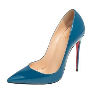 Christian Louboutin Blue Patent Leather So Kate Pumps Size 36.5