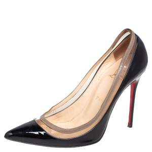 Christian Louboutin Black/Beige Patent Leather and PVC Paulina Pointed Toe Pumps Size 37.5