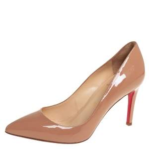 Christian Louboutin Beige Patent Leather Pigalle Pumps Size 36.5