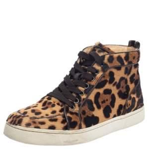 Christian Louboutin Brown/Beige Pony Hair Rantus Orlato High Top Sneakers Size 37.5