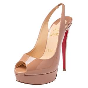 Christian Louboutin Nude Patent Leather Lady Peep  Pumps Size 37.5