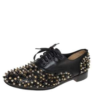 Christian Louboutin Black Leather 'Freddy' Spike Lace Up Oxfords Size 38