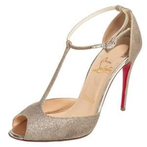 Christian Louboutin Metallic Gold Glitter Senora T-Strap Sandals Size 36.5