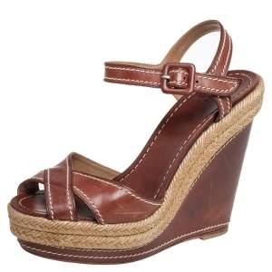 Christian Louboutin Brown Leather Almeria Sandals Size 36