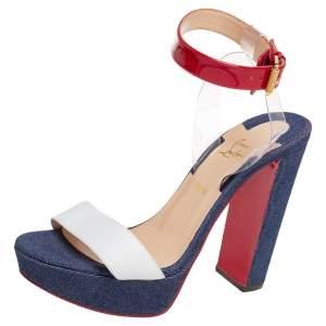 Christian Louboutin Multicolor Leather And Denim Cherry Platform Sandals Size 37.5