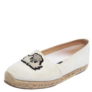 Christian Louboutin White Canvas Gala Embroidered Espadrille Flats Size 36