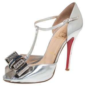 Christian Louboutin Silver Leather Archidisco T Strap Sandals Size 39