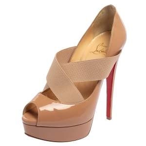 Christian Louboutin Beige Patent Leather Cross Over  Pumps Size 37