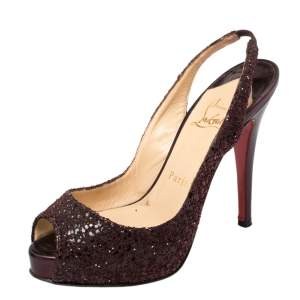 Christian Louboutin Metallic Purple Coarse Glitter And Leather No Prive Slingback Platform Sandals Size 36